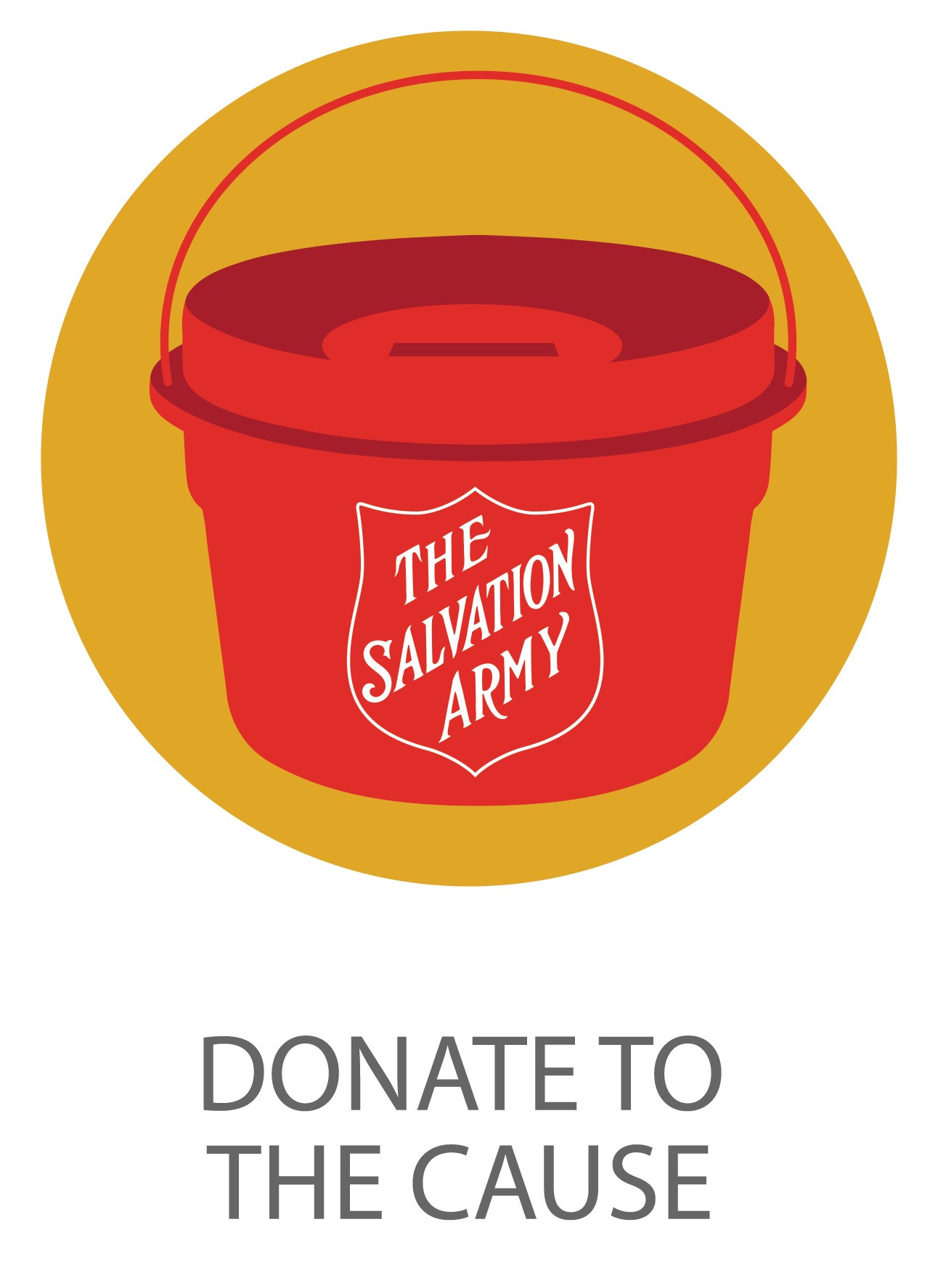 Icon of Salvation Army red kettle symbolizing donate to the cause