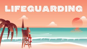Graphic illustration of man in lifeguard stand on beach looking out over water with the word Lifeguarding text
