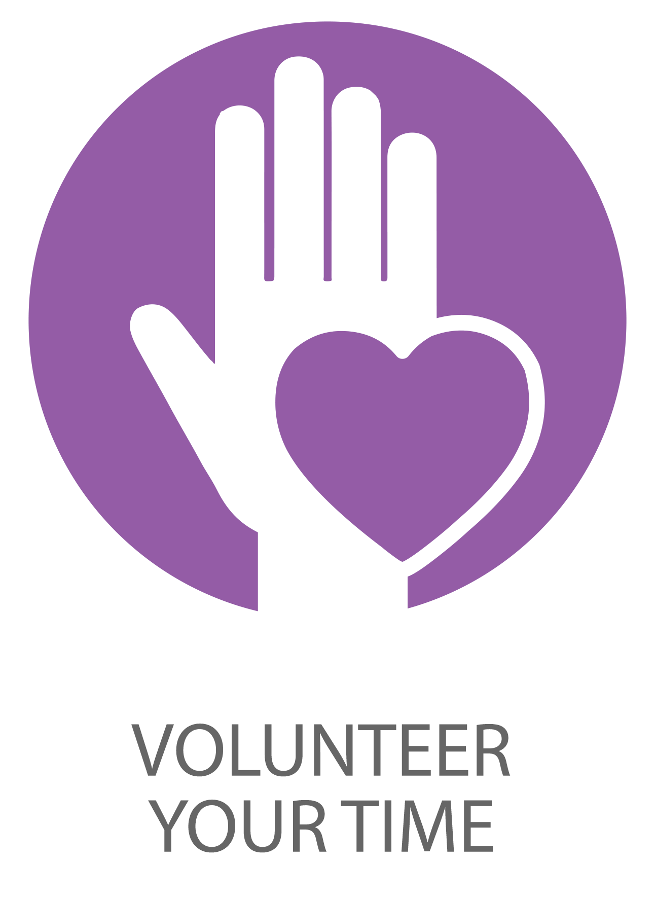 Icon of hand with a heart symbolizing volunteer your time