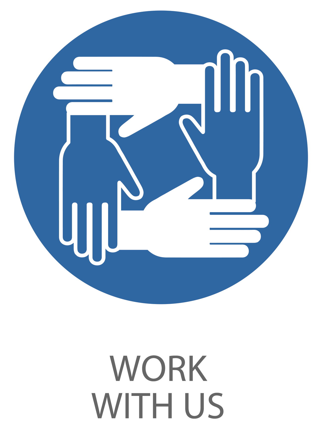 Icon of 4 interlocked hands symbolizing work with us