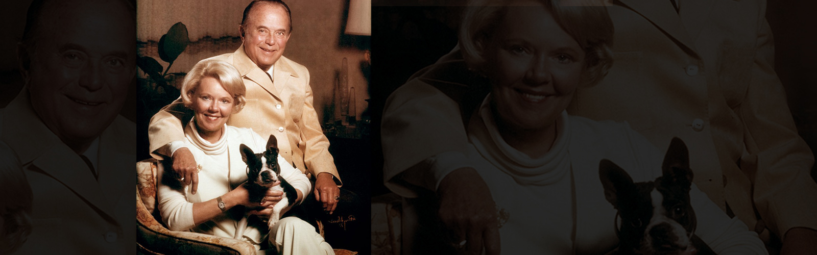 Image of Ray and Joan Kroc holding dog
