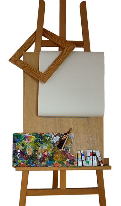 Image of artist easel with blank canvas and artist supplies on it
