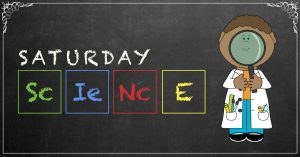 Graphic illustration of saturday science written on chalkboard background with child holding magnifying glass standing in front