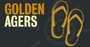 Graphic image of sandals in front of faded sun icon with text of golden agers