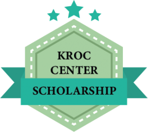 Graphic badge image with the text Kroc Center Scholarship written on it