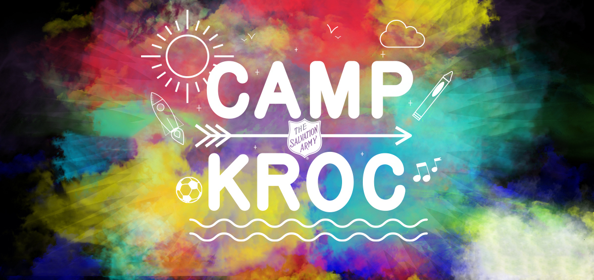 Colorful graphic with the Camp Kroc logo on it