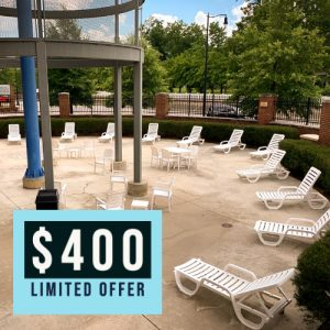 Photo of Kroc Center pool patio with the text $400 dollars limited offer written on it