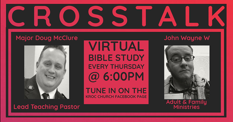 Graphic of Major Doug McClure and John Wilcox with text on Crosstalk the virtual bible study