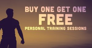 Silhouette of man with text, buy one get one free, personal training sessions