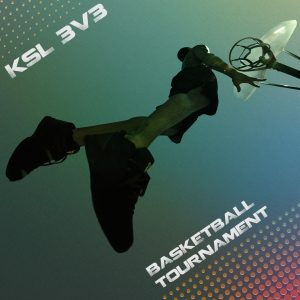 Graphic of basketball player jumping with KSL 3V3 Basketball Tournament