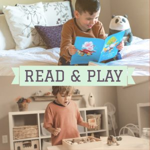 Children reading and playing